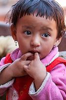 Nepal, Patan.  Little Nepali Hindu Girl.