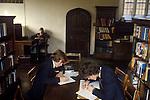 Royal Guildford Grammar School. Boys working in the school library. 1980s
