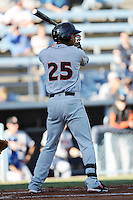 Delmarva Shorebirds right fielder Brenden Webb #25 awaits a pitch during a game between the Delmarva Shorebirds and the Asheville Tourists at McCormick Field, Asheville, North Carolina April 7, 2012. The Tourists won game one of a double header  8-4  (Tony Farlow/Four Seam Images)..