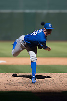 Kansas City Royals relief pitcher Carter Hope (32) follows through on his delivery during an Instructional League game against the Arizona Diamondbacks at Chase Field on October 14, 2017 in Scottsdale, Arizona. (Zachary Lucy/Four Seam Images)