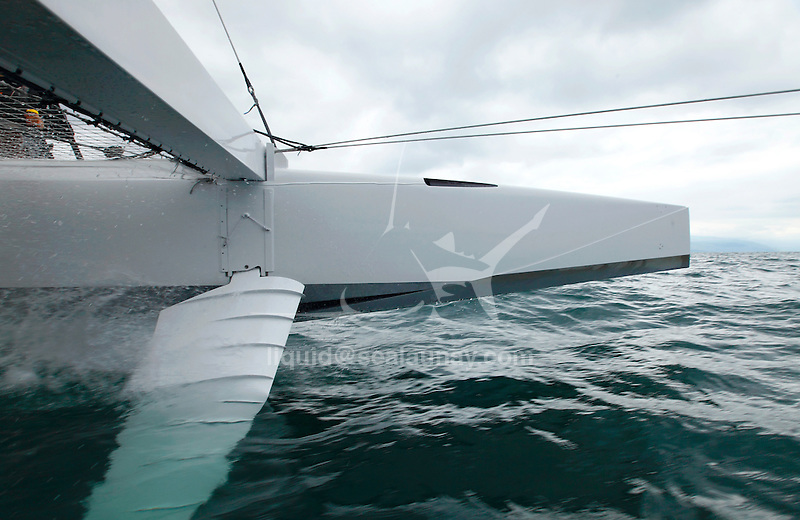 Onboard the Hydroptere.ch, Lausanne, Switzerland. .The hydroptere.ch broke two records (records for the Lake Geneva or Lake Léman).29.18 on a 1 km distance.Today: 21.32 kts on a hour.Launched in autumn 2010, this catamaran is part of a complete scientific process. As a lab boat, her main purpose is to test geometries and behaviours in varied real conditions for the development of l'Hydroptère maxi., Lausanne, Switzerland.