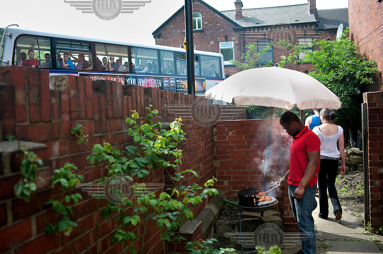 Antonio Bravo barbeques with his housemates in Leeds.