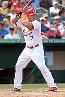 St Louis Cardinals outfielder Matt Holliday #7 during a spring training game against the Detroit Tigers at Roger Dean Stadium on March 28, 2012 in Jupiter, Florida.  Cardinals defeated the Tigers 9-5.  (Mike Janes/Four Seam Images)