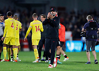 25th September 2021; Brentford Community Stadium, London, England; Premier League Football Brentford versus Liverpool; Liverpool Manager Jurgen Klopp of Liverpool thanking the travelling Liverpool fans after full time