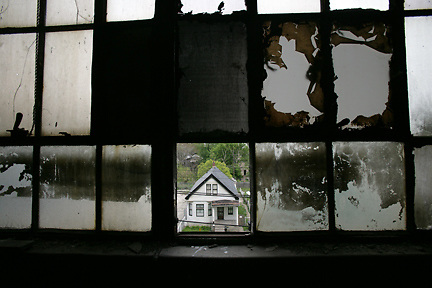 A view from inside the old Packard plant in Detroit, looking out at the neighborhood on Concord St., on May 10, 2006..SUSAN TUSA/Detroit Free Press