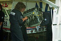 1993 British Touring Car Championship. Schnitzer BMW mechanics at work.