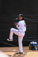 Wisconsin Timber Rattlers starting pitcher Carlos Luna (39) warms up in the bullpen prior to a game against the South Bend Cubs on July 21, 2021 at Neuroscience Group Field at Fox Cities Stadium in Grand Chute, Wisconsin.  (Brad Krause/Four Seam Images)