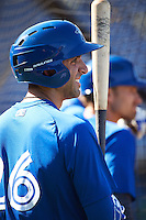 Dunedin Blue Jays third baseman Jason Leblebijian (26) during practice before a game against the Clearwater Threshers on April 8, 2016 at Bright House Field in Clearwater, Florida.  Dunedin defeated Clearwater 8-3.  (Mike Janes/Four Seam Images)