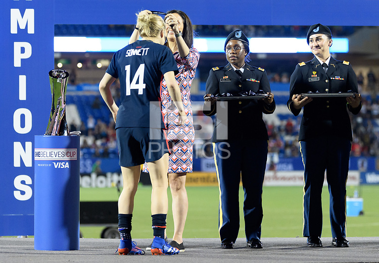 FRISCO, TX - MARCH 11: Emily Sonnett #14 of the United States receives her medal during a game between Japan and USWNT at Toyota Stadium on March 11, 2020 in Frisco, Texas.