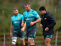 From left, Callum Gibbins, Mark Abbott and Jonah Lowe. Hurricanes rugby union training at Rugby League Park in Wellington, New Zealand on Wednesday, 19 April 2017. Photo: Dave Lintott / lintottphoto.co.nz