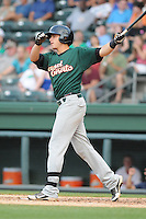 Travis Taijeron (18) of the Savannah Sand Gnats, a New York Mets affiliate, in a game against the Greenville Drive on May 29, 2012, at Fluor Field at the West End in Greenville, South Carolina. Savannah won, 12-2. (Tom Priddy/Four Seam Images)