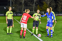 assistant referee Michele Seeldraeyers , Standard midfielder Charlotte Cranshoff (18) , referee Viki De Cremer , Gent's defender Silke Vanwynsberghe (21) , assistant referee Nathan DHooge pictured during a female soccer game between  AA Gent Ladies and Standard Femina de Liege on the 8 th matchday of the 2020 - 2021 season of Belgian Scooore Womens Super League , friday 20 th of November 2020  in Oostakker , Belgium . PHOTO SPORTPIX.BE | SPP | STIJN AUDOOREN