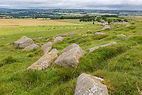 Northumberland, England, UK.  Stone Blocks at Limestone Corner, left when Romans Ceased Digging the Defensive Ditch on north side of Hadrian's Wall, near Milecastle 30.