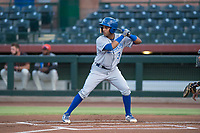 AZL Royals third baseman Rubendy Jaquez (3) at bat during an Arizona League game against the AZL Giants Black at Scottsdale Stadium on August 7, 2018 in Scottsdale, Arizona. The AZL Giants Black defeated the AZL Royals by a score of 2-1. (Zachary Lucy/Four Seam Images)