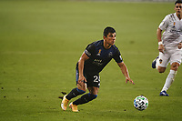 SAN JOSE, CA - SEPTEMBER 13: Nick Lima #24 of the San Jose Earthquakes during a game between Los Angeles Galaxy and San Jose Earthquakes at Earthquakes Stadium on September 13, 2020 in San Jose, California.