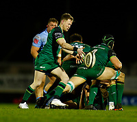 20th February 2021; Galway Sportsgrounds, Galway, Connacht, Ireland; Guinness Pro 14 Rugby, Connacht versus Cardiff Blues; Kieran Marmion kicks clear for Connacht
