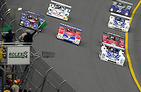 Polesitter James Weaver leads the field to the green flag as Jon Field in the Intersport Lola/Judd sweeps around from the second row to challenge for the lead..39th Rolex 24 at Daytona, 3/4 February,2001 Daytona International Speedway  Daytona Beach,Florida,USA.©F.Peirce Williams 2001 ..