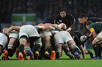 Julian Savea of New Zealand looks over the scrum during the Semi Final of the Rugby World Cup 2015 between South Africa and New Zealand - 24/10/2015 - Twickenham Stadium, London<br /> Mandatory Credit: Rob Munro/Stewart Communications
