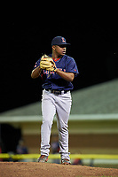 Lowell Spinners relief pitcher Juan Florentino (35) gets ready to deliver a pitch during a game against the Batavia Muckdogs on July 11, 2017 at Dwyer Stadium in Batavia, New York.  Lowell defeated Batavia 5-2.  (Mike Janes/Four Seam Images)