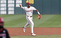 Arkansas infielder Jalen Battles (4) throws to first, Monday, June 7, 2021 in the third inning of the NCAA Fayetteville Regional at Baum-Walker Stadium in Fayetteville. Check out nwaonline.com/210608Daily/ for today's photo gallery. <br /> (NWA Democrat-Gazette/Charlie Kaijo)