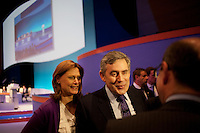 Prime Minister and Labour Party leader Gordon Brown and his wife Sarah speak to the press at the Royal College of Nurses conference in Bournemouth.