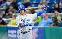 Daytona Cubs shortstop Javier Baez #12 warms up on deck during a game against the Brevard County Manatees at Spacecoast Stadium on April 5, 2013 in Melbourne, Florida.  Daytona defeated Brevard County 8-0.  (Mike Janes/Four Seam Images)