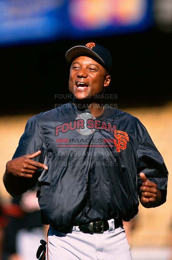 Darryl Hamilton of the San Francisco Giants participates in a Major League Baseball game at Dodger Stadium during the 1998 season in Los Angeles, California. (Larry Goren/Four Seam Images)