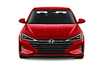 Car photography straight front view of a 2020 Hyundai Elantra SEL 4 Door Sedan Front View