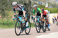 23rd April 2021; Cycling Tour des Alpes Stage 5, Valle del Chiese to Riva del Garda, Italy;  Nick Schultz Team BikeExchange and his leader Simon Yates Team BikeExchange on the uphill climb