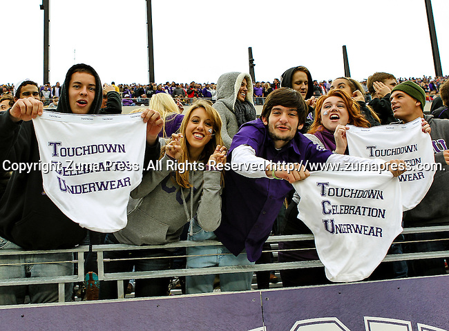 TCU Horned Frogs fans watch the game between the Iowa State Cyclones and the TCU Horned Frogs  at the Amon G. Carter Stadium in Fort Worth, Texas. Iowa State defeats TCU 37 to 23..