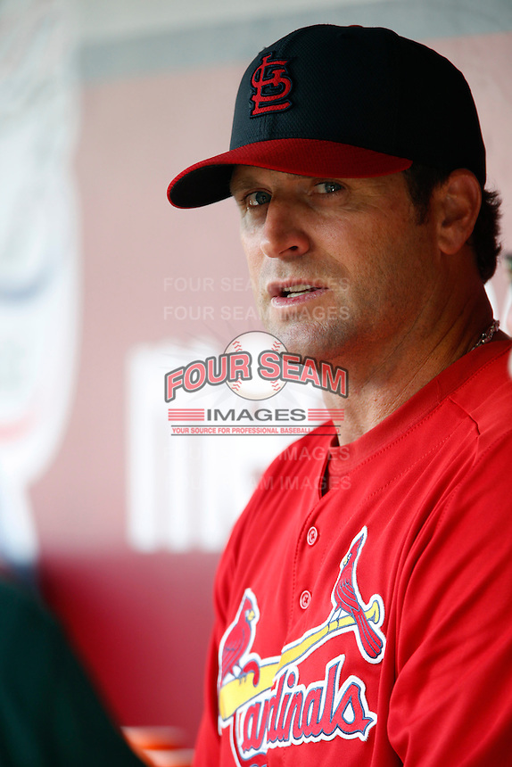 St. Louis Cardinals Manager Mike Matheny #22 before a game against the Los Angeles Angels at Angel Stadium on July 3, 2013 in Anaheim, California. (Larry Goren/Four Seam Images)