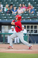 Springfield Cardinals infielder Irving Lopez (11) connects on a pitch on May 16, 2019, at Arvest Ballpark in Springdale, Arkansas. (Jason Ivester/Four Seam Images)