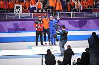 OLYMPIC GAMES: PYEONGCHANG: 11-02-2018, Gangneung Oval, Long Track, 5000m Men, Final result, Ted-Jan Bloemen (CAN), Sven Kramer (NED), Sverre Lunde Pedersen (NOR), ©photo Martin de Jong