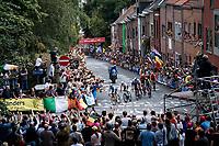 Remco Evenepoel (BEL/Deceuninck-Quick Step) leading the way among the roaring crowd that often chants his name up the Wijnpersstraat<br /> <br /> Elite Men World Championships - Road Race<br /> from Antwerp to Leuven (268.3km)<br /> <br /> UCI Road World Championships - Flanders Belgium 2021<br /> <br /> ©kramon