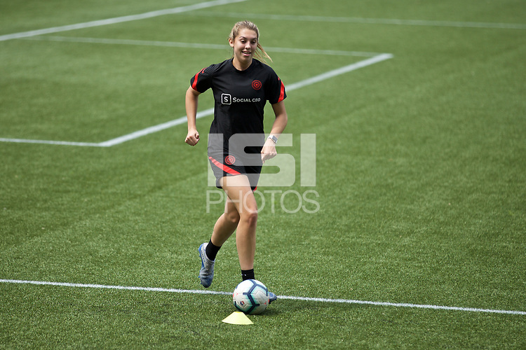 PORTLAND, OR - MAY 09: Morgan Weaver #22 of the Portland Thorns trains individually for the first time since the COVID-19 outbreak at Providence Park on May 09, 2020 in Portland, Oregon.