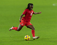 ORLANDO CITY, FL - FEBRUARY 18: Deanna Rose #6 passes the ball during a game between Canada and USWNT at Exploria stadium on February 18, 2021 in Orlando City, Florida.