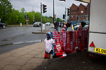 Manchester United 0, Manchester City 2, 24/04/2019. Old Trafford Stadium, English Premier League. A souvenir seller's stand outside the stadium before Manchester United hosted Manchester City at Old Trafford. This was the 178th time the sides had met, with City looking to overtake rivals Liverpool in the race for the English Premier League title. City won the match 2-0 watched by 74,431 spectators. Photo by Colin McPherson.