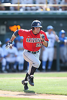 Scott Kingery (25) of the Arizona Wildcats runs to first base during a game against the UCLA Bruins at Jackie Robinson Stadium on May 16, 2015 in Los Angeles, California. UCLA defeated Arizona, 6-0. (Larry Goren/Four Seam Images)