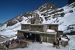Toubkal refuge at 10500 feet..Climbing of the mountain Toubkal (4165 m) with mountaineering skis, highest summit of North Africa. Atlas range. Morocco. Africa