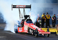 Mar 14, 2014; Gainesville, FL, USA; NHRA top fuel dragster driver Leah Pritchett during qualifying for the Gatornationals at Gainesville Raceway Mandatory Credit: Mark J. Rebilas-USA TODAY Sports