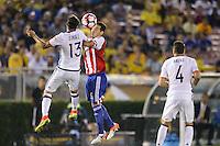 Pasadena, CA - Tuesday June 07, 2016: Colombia midfielder Sebastián Pérez (13) and Paraguay midfielder Celso Ortiz (16) during a Copa America Centenario Group A match between Colombia (COL) and Paraguay (PAR) at Rose Bowl Stadium.