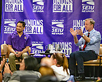 January 26, 2020, Las Vegas Nevada USA: Nevada SEIU 1107  Local Union holds Round Table   with Presidential candidate TOM STEYER in Las Vegas  Nevada.at the new Sarah hotel casino (Credit Image: © Larry Burton/ZUMA Wire) photo Tom Steyer (R) with moderator