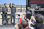 Gediminas Bagdonas (LIT) and Belgian National Champion Oliver Naesen (BEL) AG2R La Mondiale on stage at the team presentation before the 116th edition of Paris-Roubaix 2018. 7th April 2018.<br /> Picture: ASO/Pauline Ballet | Cyclefile<br /> <br /> <br /> All photos usage must carry mandatory copyright credit (© Cyclefile | ASO/Pauline Ballet)