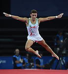 Wales' Iwan Mepham completes his floor routine<br /> <br /> Gymnastics artistic - Team final & Individual Qualification <br /> <br /> Photographer Chris Vaughan/Sportingwales<br /> <br /> 20th Commonwealth Games - Day 5 - Monday 28th July 2014 - Gymnastics artistic - The SSE Hydro - Glasgow - UK