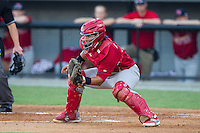 Johnson City Cardinals catcher Jose Godoy (25) waits for a throw at home plate during the game against the Burlington Royals at Burlington Athletic Park on July 14, 2014 in Burlington, North Carolina.  The Cardinals defeated the Royals 9-4.  (Brian Westerholt/Four Seam Images)