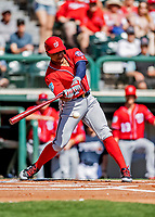25 February 2019: Washington Nationals infielder Wilmer Difo in action during a pre-season Spring Training game against the Atlanta Braves at Champion Stadium in the ESPN Wide World of Sports Complex in Kissimmee, Florida. The Braves defeated the Nationals 9-4 in Grapefruit League play in what will be the Braves' last season at the Disney / ESPN Wide World of Sports complex. Mandatory Credit: Ed Wolfstein Photo *** RAW (NEF) Image File Available ***