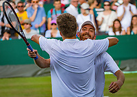 London, England, 5 th. July, 2018, Tennis,  Wimbledon, Men's doubles: Matwe Middelkoop (NED)  (R) and Sander Arends (NED) celebrate matchpoint<br /> Photo: Henk Koster/tennisimages.com