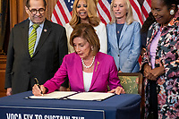 Speaker of the United States House of Representatives Nancy Pelosi (Democrat of California), center, is joined by United States Representative Jerrold Nadler (Democrat of New York), Chairman, US House Judiciary Committee, left, and United States Representative Sheila Jackson-Lee (Democrat of Texas), right, for a bill enrollment photo op for H.R. 1652 - VOCA Fix to Sustain the Crime Victims Fund Act of 2021, at the US Capitol, in Washington, DC, Wednesday, July 21, 2021. Credit: Rod Lamkey / CNP /MediaPunch