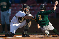 Catcher John Curtis #24 of the Winston-Salem Dash gets puts the tag on Alex Presley #3 of the Lynchburg Hillcats as he tries to score in the first inning at Wake Forest Baseball Stadium August 29, 2009 in Winston-Salem, North Carolina. (Photo by Brian Westerholt / Four Seam Images)