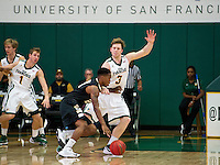 SAN FRANCISCO, CA - November 5, 2012: University of San Francisco Dons vs UNC Pembroke Braves at the War Memorial Gym in San Francisco, California. Final score San Francisco Dons 94 the UNC Pembroke Braves 57.